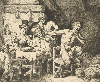 Relief - The Satyr And The Peasant by Christian Wilhelm Ernst Dietrich