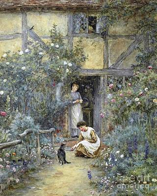 Very Painting - The Saucer Of Milk by Helen Allingham
