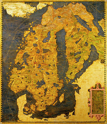 Sphere Painting - The Scandinavian Peninsula by Italian painter of the 16th century