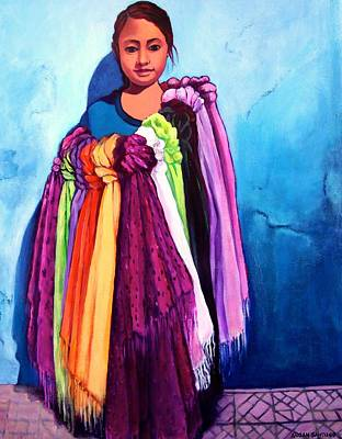 Painting - The Scarf Seller by Susan Santiago