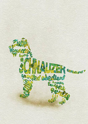 Watercolor Pet Portraits Wall Art - Painting - The Schnauzer Dog Watercolor Painting / Typographic Art by Inspirowl Design