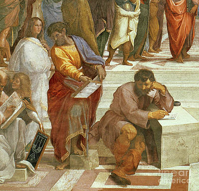 The School Of Athens, Detail Of The Figures On The Left Hand Side Art Print by Raphael