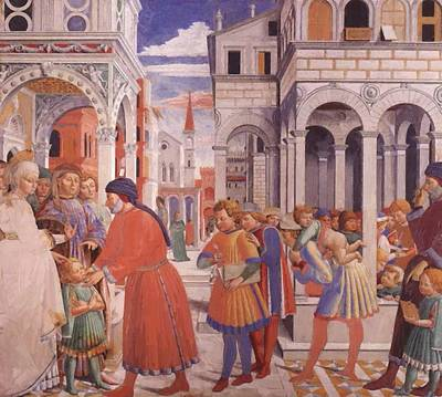 Painting - The School Of Tagaste 1465 by Gozzoli Benozzo
