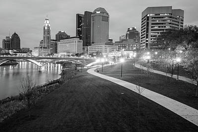 Photograph - The Scioto Mile - Columbus Ohio Skyline Black And White by Gregory Ballos