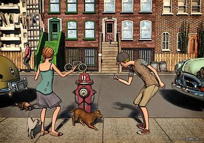 Youth Digital Art - The Scolding Or  Aka When A Dog's Gotta Go by Ken Morris