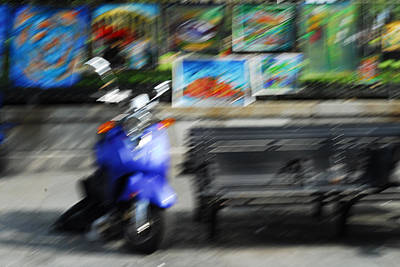 The Scooter Is Blue Art Print by Wayne Archer