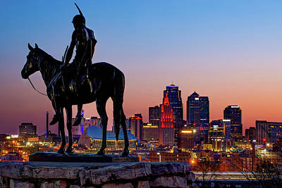 Photograph - The Scout And The Kansas City Downtown Skyline At Dawn by Gregory Ballos