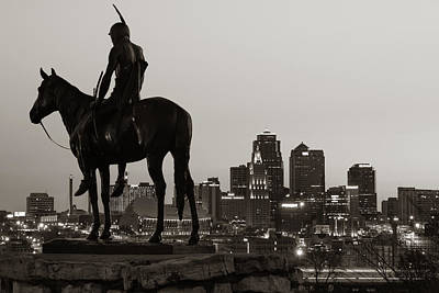 Photograph - The Scout And The Kansas City Skyline At Dawn - Sepia by Gregory Ballos
