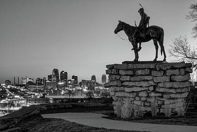 Photograph - The Scout Overlooking The Kansas City Skyline - Black And White by Gregory Ballos