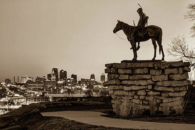 Photograph - The Scout Overlooking The Kansas City Skyline - Sepia by Gregory Ballos