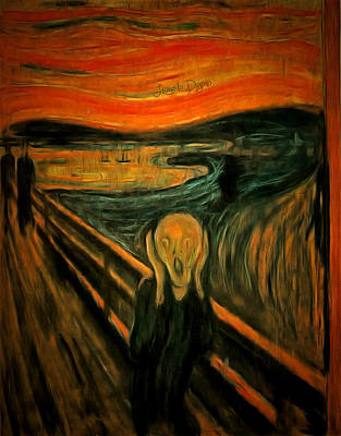 Text Painting - The Scream By Edvard Munch Revisited by Leonardo Digenio