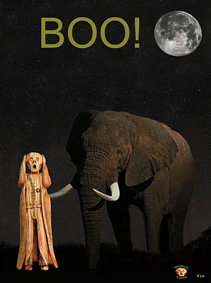 Mixed Media - The Scream World Tour African Elephant Boo by Eric Kempson