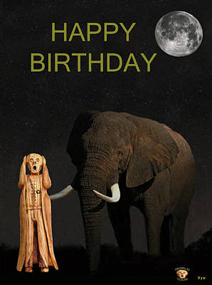 Mixed Media - The Scream World Tour African Elephant Happy Birthday by Eric Kempson