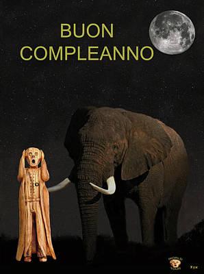 Mixed Media - The Scream World Tour African Elephant Happy Birthday Italian by Eric Kempson