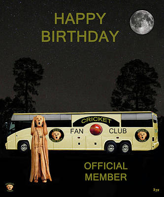 The Scream Mixed Media - The Scream World Tour Cricket  Tour Bus Happy Birthday by Eric Kempson