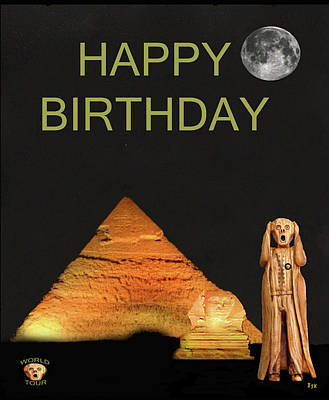 Cairo Mixed Media - The Scream World Tour Egypt Happy Birthday by Eric Kempson