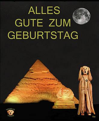 Cairo Mixed Media - The Scream World Tour Egypt Happy Birthday German by Eric Kempson