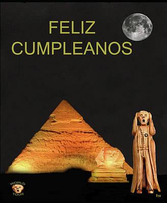 Cairo Mixed Media - The Scream World Tour Egypt Happy Birthday Spanish by Eric Kempson