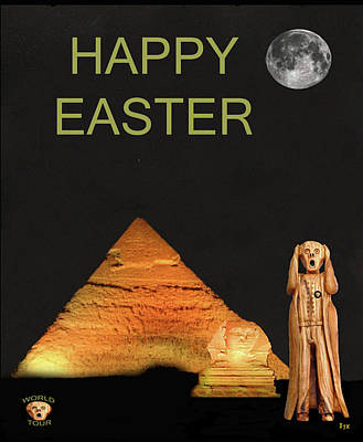 Sphinx Mixed Media - The Scream World Tour Egypt Happy Easter by Eric Kempson