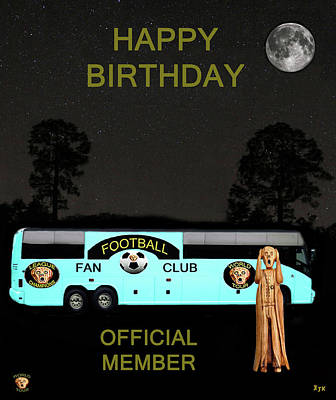 The Scream Mixed Media - The Scream World Tour Football Tour Bus Happy Birthday by Eric Kempson