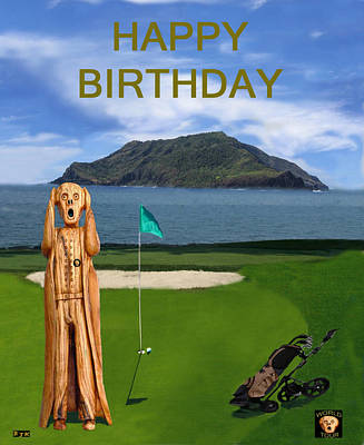The Scream Mixed Media - The Scream World Tour Golf  Happy Birthday by Eric Kempson