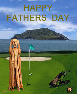The Scream Mixed Media - The Scream World Tour Golf  Happy Fathers Day by Eric Kempson