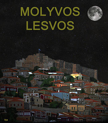 Mixed Media - The Scream World Tour Molyvos Moonlight Lesvos by Eric Kempson