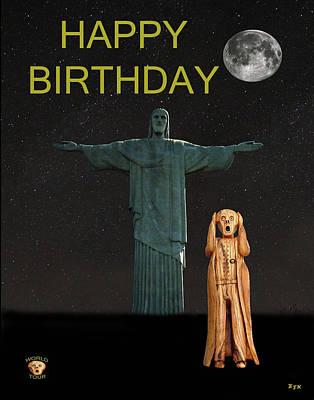 Bossa Nova Mixed Media - The Scream World Tour Rio Happy Birthday by Eric Kempson