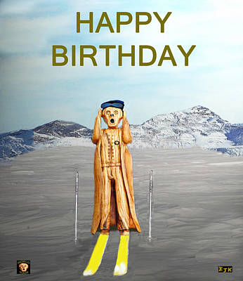 The Scream World Tour Skiing Happy Birthday Print by Eric Kempson