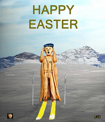 The Scream World Tour Skiing Happy Easter Art Print by Eric Kempson