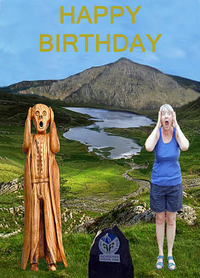 Mixed Media - The Scream World Tour Snowdon With Jill Beddoes Birthday by Eric Kempson