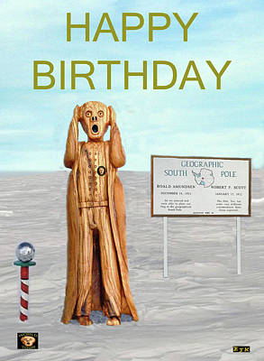 South Sea Mixed Media - The Scream World Tour South Pole Happy Birthday by Eric Kempson