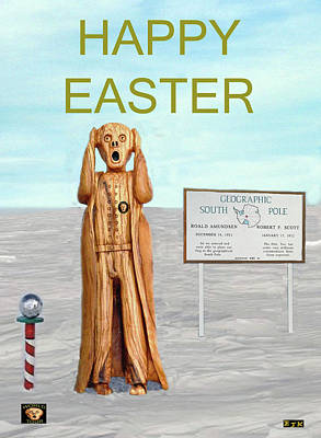 South Sea Mixed Media - The Scream World Tour South Pole Happy Easter by Eric Kempson