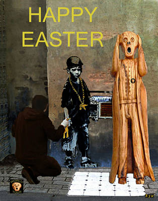 Painter Mixed Media - The Scream World Tour Street Art Happy Easter by Eric Kempson