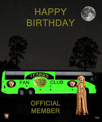 The Scream Mixed Media - The Scream World Tour Tennis Tour Bus Happy Birthday by Eric Kempson
