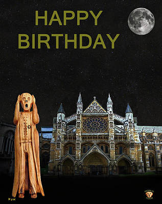 Westminster Abbey Mixed Media - The Scream World Tour Westminster Abbey Happy Birthday by Eric Kempson