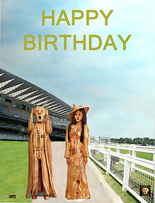 Mixed Media - The Scream World Tour With Fashion Ascot Races Happy Birthday by Eric Kempson
