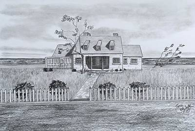Drawing - The Sea Captains House  by Tony Clark