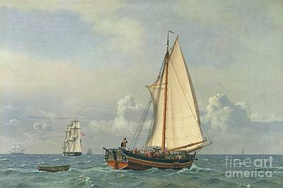 Ancien Painting - The Sea by Christoffer Wilhelm Eckersberg