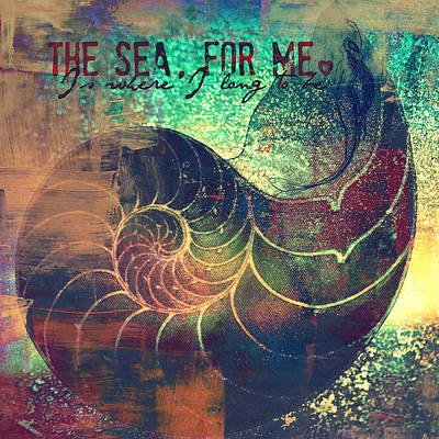 Nautilus Mixed Media - The Sea For Me V2 by Brandi Fitzgerald