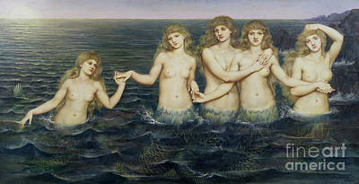 Sundown Painting - The Sea Maidens by Evelyn De Morgan