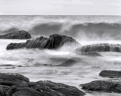 Photograph - The Sea Marches On Bw by Denise Dube