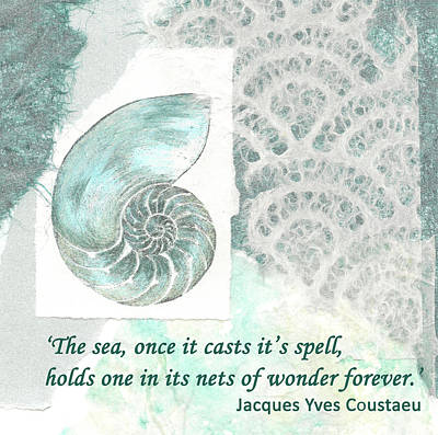 Painting - 'the Sea Once It Cats It's Spell...' Quote by Lisa Le Quelenec