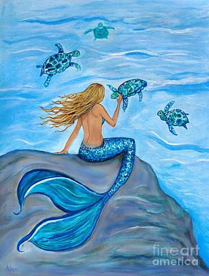 Painting - The Sea Turtles Friend by Leslie Allen