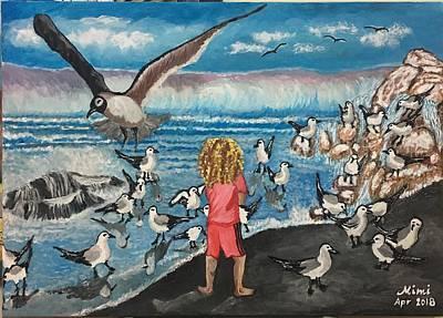 Drawing - The Seagulls Boy by Mimi Eskenazi