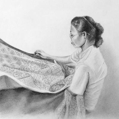 Susan Conner Drawing - The Seamstress by Susan Conner