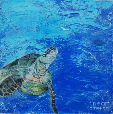 Hawaii Sea Turtle Mixed Media - The Search by Kristen Ashton