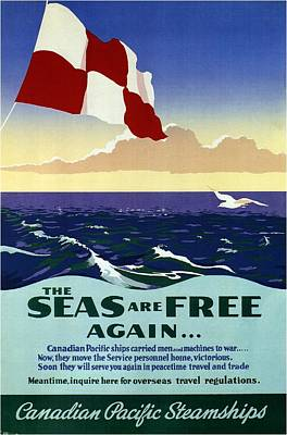 Royalty-Free and Rights-Managed Images - The Seas are Free Again.. - Canadian Pacific Steamships - Retro travel Poster - Vintage Poster by Studio Grafiikka