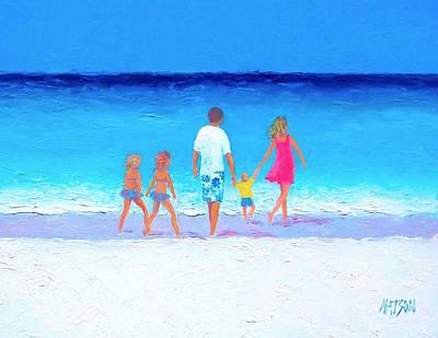 The Seaside Holiday - Beach Painting Art Print