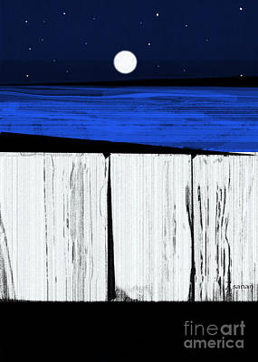 Digital Art - The Seawalls No.4 Full Moon Rising by Zsanan Narrin